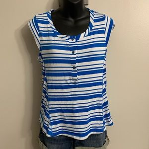 Anthropologie Pleione Blue And White Stripe Top